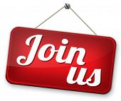 Join today and register here and now banner. Membership or registration sign.