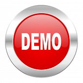 demo red circle chrome web icon isolated