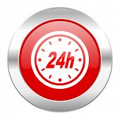 24h red circle chrome web icon isolated