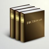 Vector brown dictionary book pile
