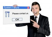 Call center man with system failure message
