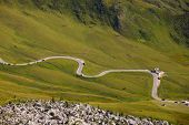 Road at the high mountain pass Giau