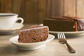 sacher cake on wooden table