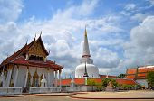 Temple With Blue Sky And Cloud In Thailand