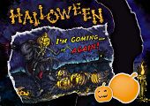 foto of runaway  - Halloween composition with a card  - JPG