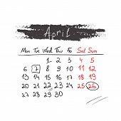 Handdrawn calendar April 2015. Vector.