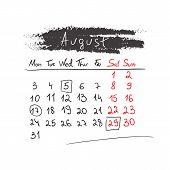 Handdrawn calendar August 2015. Vector.