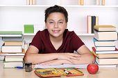 Happy Smiling Boy Doing Homework At School