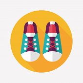 Vintage Shoes Flat Icon With Long Shadow,eps10