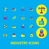 industry, business, management icons, signs, symbols, illustrations set, vector