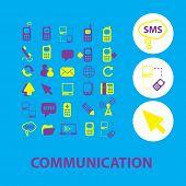 communication icons, signs, symbols, illustrations set, vector