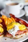 pic of benediction  - Delicious breakfast with eggs Benedict and coffee - JPG