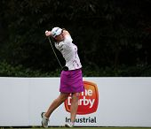 KUALA LUMPUR, MALAYSIA - OCTOBER 11, 2014: Caroline Masson of Germany tees off at the fourth hole of the KL Golf & Country Club during the 2014 Sime Darby LPGA Malaysia got tournament.