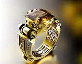 Golden Engagement Ring with Diamond. Fashion Jewelry background