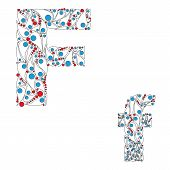 Letter F. Bright element alphabet. ABC element in vector.