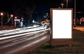 Billboard In The City Street By Night, Blank Screen