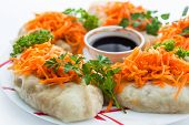 picture of korean  - Korean dish of carrots dumplings with soy sauce - JPG