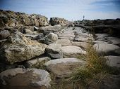 Stone Road Ruins Towards The Sea