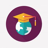 E-learning Flat Icon With Long Shadow,eps10