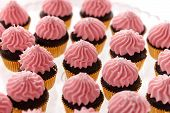picture of buffet  - Delicious sweet buffet with cupcakes on the plate - JPG