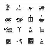 stock photo of mason  - Building construction mason worker character installing window pane in brick wall icons black  isolated abstract vector illustration - JPG