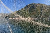 Fishing Net On The Background Of The Bay Of Kotor, Montenegro