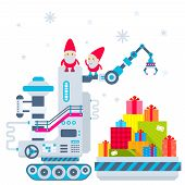 Vector Christmas Illustration Of The Gnome Operates The Machine, Which Has Brought A Lot Of Gifts An
