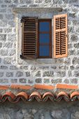 Old Window With Wooden Shutters Close Up Vertical