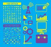 200 flat office, media, document, business icons, signs, symbols, illustrations, vectors set