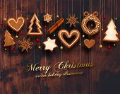 foto of xmas star  - Hanging Gingerbread Man Christmas Cookies for Xmas Decoration - JPG