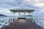 Wooden pier at Koh Si Chang island Thailand