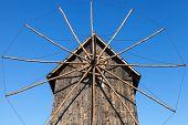 Ancient Wooden Windmill, Popular Landmark Of Old Nessebar