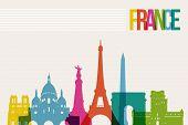 Travel France Destination Landmarks Skyline Illustration