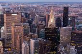 amazing above view to new york city at early evening