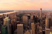 beautiful view on central park at sunset in New York, USA