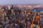 overhead view of New york City at sunset