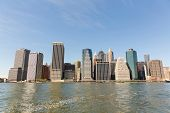 new york city downtown manhattan panorama view over hudson river
