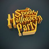 Spooky Halloween Party Pumpkin Poster Template Element Letters 3D