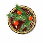 Pine Branch With Christmas Balls In The Frame