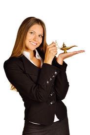 pic of aladdin  - office girl holding a lamp of Aladdin - JPG