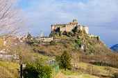 pic of apennines  - The village Bardi and its castle Emilia - JPG