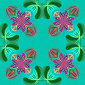 Symmetrical Pattern Of The Flower Petals. Green And Pink Palette. Computer Generated Graphics.