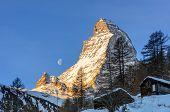 Moon set behind Matterhorn
