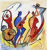 pic of composition  - Three jazz musicians play jazz composition on the stage - JPG