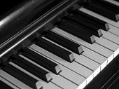 Piano Keys Of A Very Well Loved And Often Played Piano In Monochrome Black And Whit