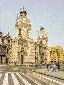 Cathedral Of Lima Facade Low Angle View