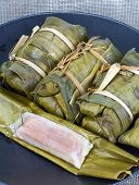 Glutinous Rice With Banana Steamed In Banana Leaf