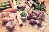Ingredients For Meat Broth With Green Sauce Whit Tone Color In Instagram Effect