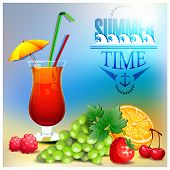 Summer cocktail and fruits