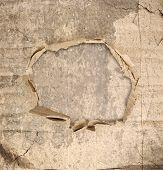 Abstract Grunge Wall Background With Paper Hole In The Middle